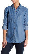 Adrienne Vittadini Patch Pocket Denim Blouse