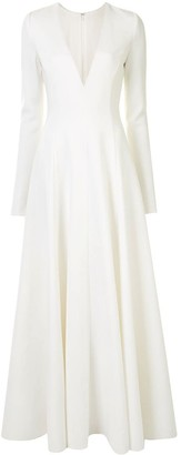 Carolina Herrera V-neck long-sleeve gown