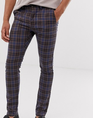 Topman skinny smart trousers in navy check