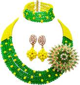 aczuv 5 Rows Women's Fashion African Beads Nigerian Necklace Bridal Wedding Jewelry Sets