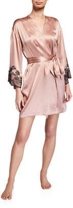 Josie Natori Lolita Lace-Trim Silk Wrap Robe