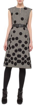 Akris Punto Belted Dotted Houndstooth Sleeveless Dress, Black/Cream