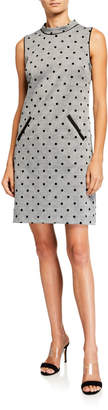 Donna Ricco Flocked Velvet Polka-Dot Sheath Dress