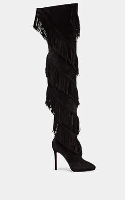 Christian Louboutin Women's Bolcheva Fringed Suede Thigh-High Boots - Black
