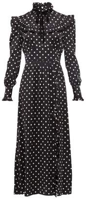 Alessandra Rich Ruffled Polka-dot Silk-charmeuse Dress - Womens - Black White
