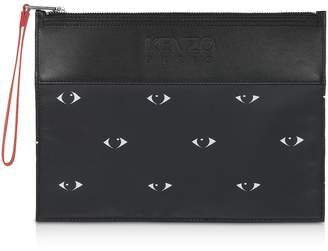 Kenzo Eyes Print Black Nylon & Leather Large Pouch