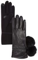 Echo Leather Tech Gloves with Rabbit Fur Pom-Pom