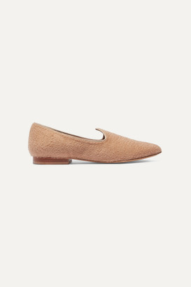 Giuliva Heritage Collection Le Monde Beryl Grosgrain-trimmed Felt Slippers - Camel