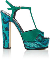Sergio Rossi Women's Snakeskin & Suede Platform Sandals
