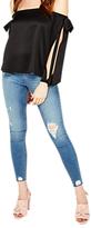 Miss Selfridge Bow Detail Cold Shoulder Top, Black