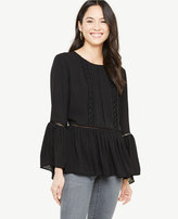 Ann Taylor Petite Embroidered Lacy Flounce Blouse