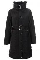 Quiz Black Padded Fur Trim Belt Jacket