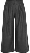 J.Crew Cropped Wool-flannel Wide-leg Pants - Charcoal