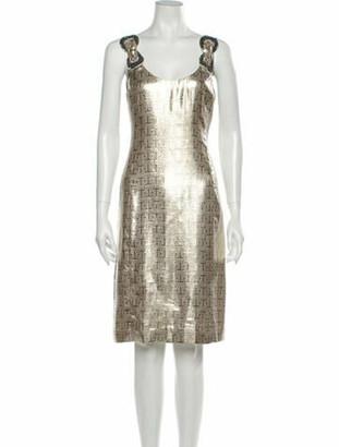Tory Burch Printed Knee-Length Dress Gold