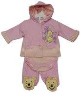 Disney Baby Girls Pink Winnie The Pooh Hooded Top Onesie 3 Pc Pant Set 3-6M