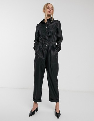 ASOS DESIGN leather look boiler jumpsuit with popper front in black