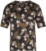 MENG Floral leaf-print silk-satin pyjama top
