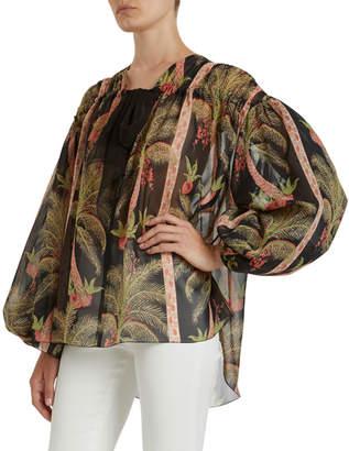 Giambattista Valli Tropical Print Shirred Silk Blouse
