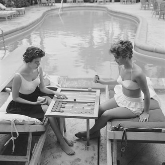 "Jonathan Adler Slim Aarons ""Backgammon By The Pool"" Photograph"