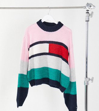 Tommy Jeans Plus bell sleeve knitted flag sweater in pink colour