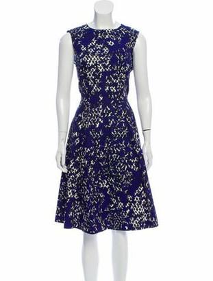 Oscar de la Renta Abstract Print A-Line Dress Indigo