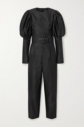 Rasario Belted Duchesse Silk-satin Jumpsuit - Black