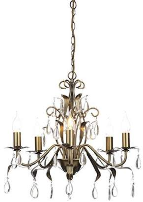 Lagos Illuminate Elegant And Spectacular Metal And Glass 5 Light Chandelier With Wonderful Design In Steel, Antique Brass (A++ To E)
