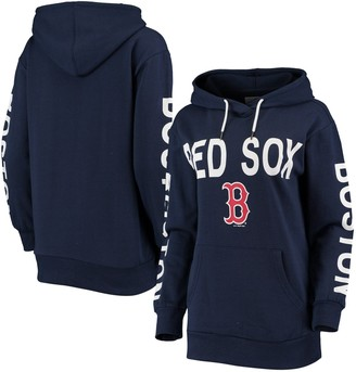 G Iii Women's G-III 4Her by Carl Banks Navy Boston Red Sox Extra Inning Colorblock Pullover Hoodie