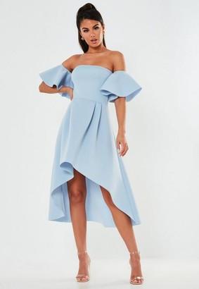 Missguided Blue Bardot High Low Scuba Midi Dress