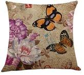 Colorful Newyork/Flowers/Bird Prints Beige Cushion Cover,Highpot 45CM45CM Cotton&Linen Square Throw Pillow Case Baby Room Sofa Chair Car Office Home Decor (C) (J)
