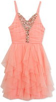 Rare Editions Blush Cascade Dress, Big Girls (7-16)