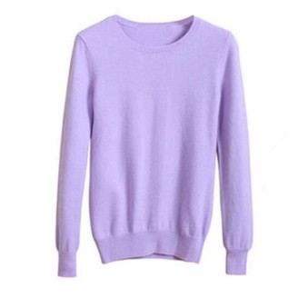 Gphui Candy Knit Jumper Sweater Women Soft Stretch Round Neck Pullover Ladies Leisure Knitwear Tops for Daily Collocation in Fall Winter Lavender