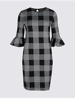 M&S Collection PETITE Cotton Rich Checked Tunic Dress