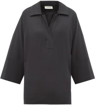 Lemaire Open Collar Cotton Polo Shirt - Navy