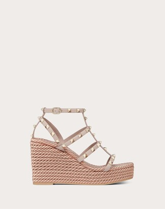 Valentino Garavani Rockstud Ankle Strap Wedge Sandal In Calfskin Leather 95 Mm Women Poudre Calfskin 100% 36