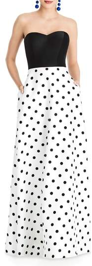 Alfred Sung Strapless Dot Block Sateen Gown