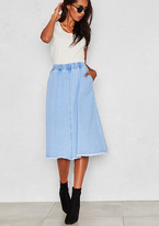 Missy Empire Kelis Light Blue Denim Frayed Midi Skirt