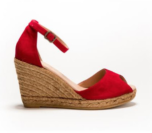 Cara Red Espadrille Susan Wedge - 41 - Red/Brown/Leather