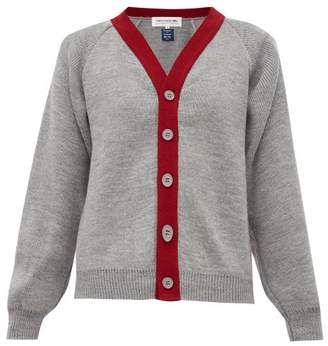 Comme des Garcons Contrast-trim Knitted Cardigan - Womens - Grey