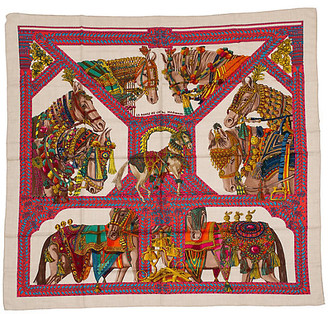 One Kings Lane Vintage Hermes Le Danse du Cheval Cashmere Shawl - Vintage Lux - beige/pink/brown/red