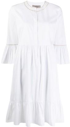 D-Exterior Panelled Ruffle Sleeve Dress