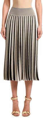 Agnona Striped Cotton-Silk Pleated Midi Skirt