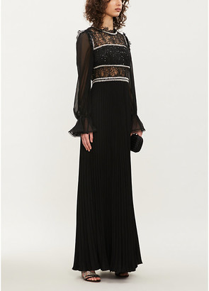Self-Portrait Sequin-embellished pleated chiffon maxi dress