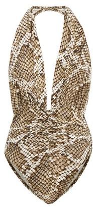 Norma Kamali Slinky Marissa Halterneck Python-print Swimsuit - Grey Print