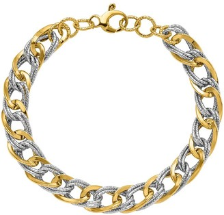 Italian Gold Two-Tone Double Curb Link Bracelet, 14K 7.0g