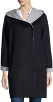 Vince Wool-Blend Hooded Coat, Coastal