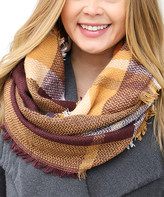 Funky Monkey Women's Cold Weather Scarves Golden - Golden Brown Plaid Infinity Scarf - Women