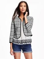 Old Navy Jacquard Open Front Jacket for Women