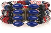 Herringbone bead and glass bracelet