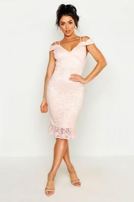 boohoo Lace Cold Shoulder Ruffle Hem Midi Dress